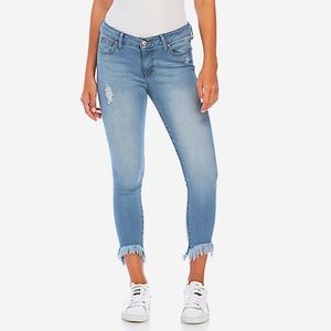 Celebrity Pink Mid Rise Ankle Skinny Jeans Frayed